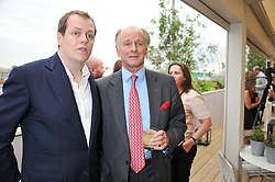 Left to right, TOM PARKER BOWLES and his uncle SIMON PARKER BOWLES at a party to celebrate the publication on 'Let's Eat: Recipes From My Kitchen Notebook' by Tom Parker Bowles held at Selfridge's Rooftop. Selfridge's, Oxford Street, London on 27th June 2012.