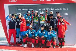 Team Norway celebrate during trophy ceremony after the Audi FIS Alpine Ski World Cup Men's Giant Slalom 58th Vitranc Cup 2019 on March 9, 2019 in Podkoren, Kranjska Gora, Slovenia. Photo by Peter Podobnik / Sportida