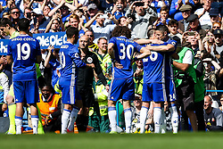 Gary Cahill hugs Chelsea Captain John Terry who is substituted on the 26th minute of the game to mark his retirement after a long Chelsea career in the 26 shirt - Rogan Thomson/JMP - 21/05/2017 - FOOTBALL - Stamford Bridge - London, England - Chelsea v Sunderland - Premier League..