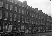 Georgian Houses at Fitzwilliam Street, Dublin, then the longest stretch of Georgian domestic architecture in the world.  Part of the street was later demolished to make way for the new Electricity Supply Board Headquarters..20.11.1961