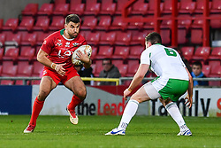 11th November 2018 , Racecourse Ground,  Wrexham, Wales ;  Rugby League World Cup Qualifier,Wales v Ireland ; Elliot Kear of Wales in action<br /> <br /> <br /> Credit:   Craig Thomas/Replay Images