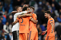 Football - 2018 / 2019 UEFA Champions League - Group F: Manchester City vs. Olympique Lyonnais<br /> <br /> Olympique Lyonnais goalkeeper Anthony Lopes and team mates celebrate a 2-1 victory at full time, at the Etihad Stadium.<br /> <br /> COLORSPORT/PAUL GREENWOOD