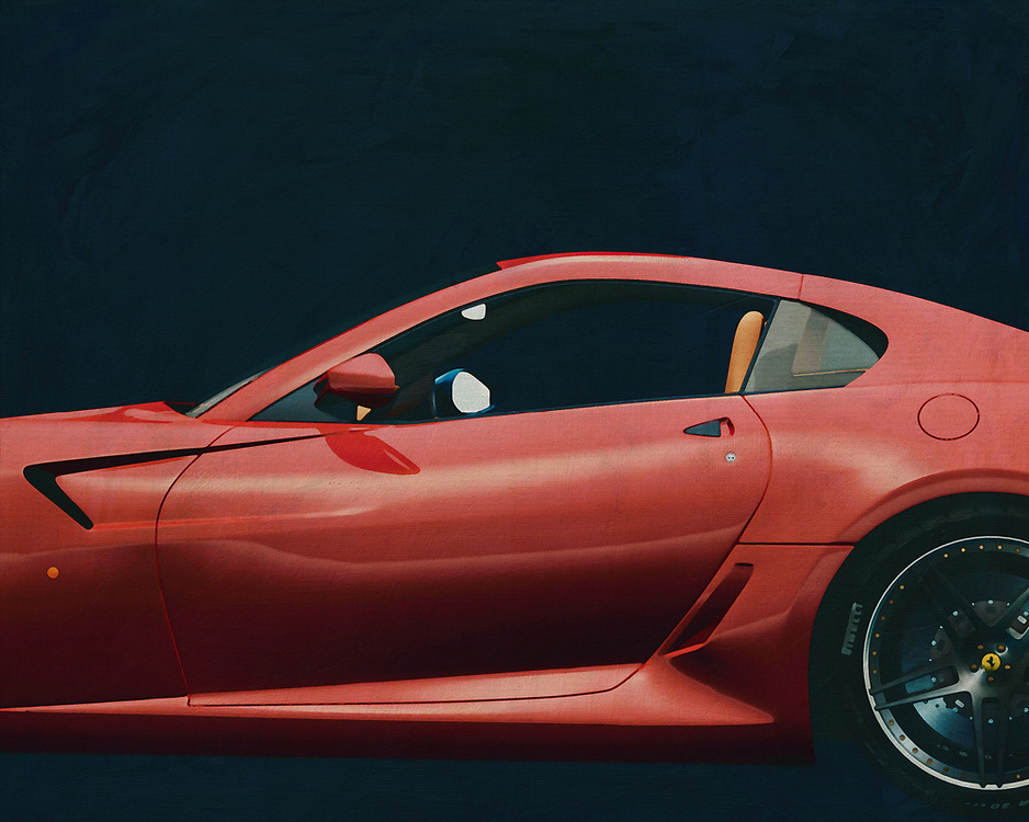 The Ferrari 599 GTB Fiorano (internal code F139) is the successor of the 575M and has been succeeded by the Ferrari F12. The 599 made its debut at the Geneva Motor Show on 28 February 2006. The design was in the hands of Pininfarina under the supervision of the Ferrari stylist, Frank Stephenson. His name comes from the total engine capacity (5999 cc), Gran Turismo Berlinetta features and Ferrari's Fiorano test track. –<br /> <br /> <br /> BUY THIS PRINT AT<br /> <br /> FINE ART AMERICA<br /> ENGLISH<br /> https://janke.pixels.com/featured/2-painting-of-a-ferrari-599-gtb-fiorano-2006-jan-keteleer.html<br /> <br /> WADM / OH MY PRINTS<br /> DUTCH / FRENCH / GERMAN<br /> https://www.werkaandemuur.nl/nl/shopwerk/Schilderij-van-een-Ferrari-599-GTB-Fiorano-2006-Rood/545112/134