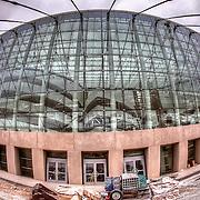 Fisheye lens view of the Kauffman Center's construction progress on April 19, 2011.