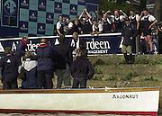 Putney, London   <br /> 2002 Varsity Boat Race. <br /> Photo Peter Spurrier<br /> 2002 Boat Race<br /> 30/03/02<br /> Oxford celebrate with their water bourne supporters.[Mandatory Credit:Peter SPURRIER/Intersport Images]