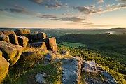 A summer's evening on Gardom's Edge, overlooking the Derwent Valley. Derbyshire, Peak District National Park. England, UK.