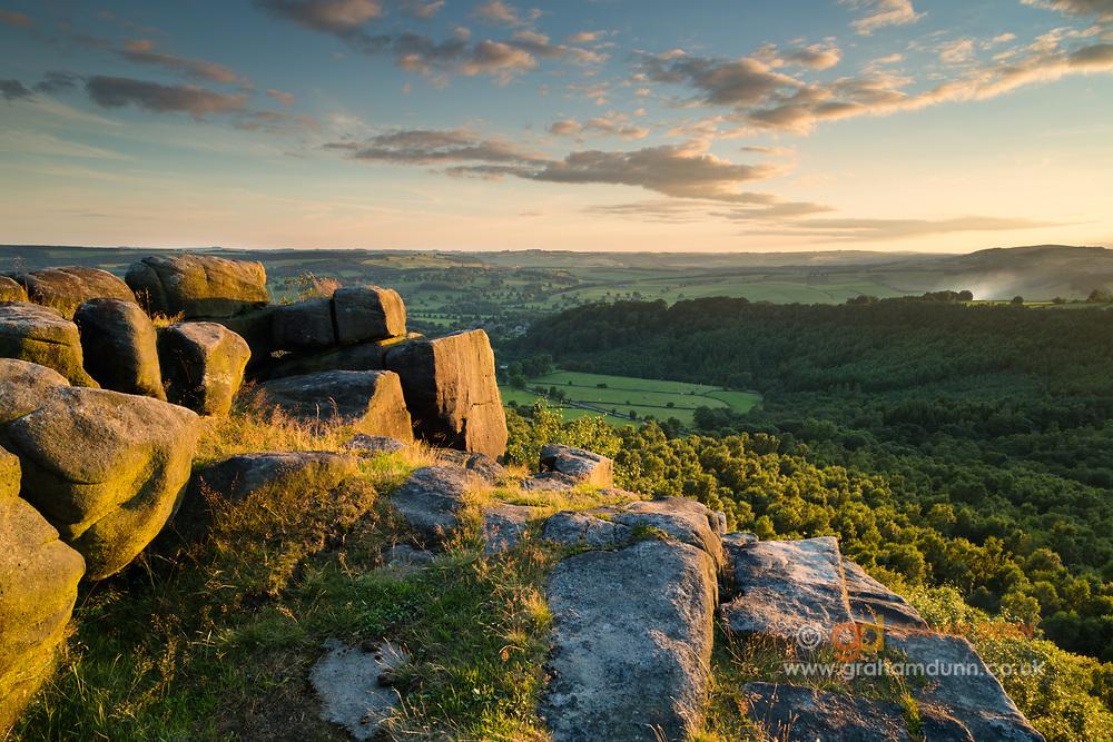 A summer's evening on Gardom's Edge, overlooking the Derwent Valley. Derbyshire, Peak District National Park. England, UK.