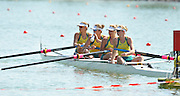 Racice, CZECH REPUBLIC. AUS JW4-. bow Natasha GAY, Olympia ALDERSEY, Emma BASHER and Hannah VERMEERSCH,  relax before the start of their heat in the women's four.  Thursday,  05/08/2010.  [Mandatory Credit Peter Spurrier/ Intersport Images]