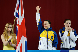 Rebecca Gallantree of of City of Leeds Diving Club is introduced ahead of the Womens 3m Springboard Final - Photo mandatory by-line: Rogan Thomson/JMP - 07966 386802 - 22/02/2015 - SPORT - DIVING - Plymouth Life Centre, England - Day 3 - British Gas Diving Championships 2015.