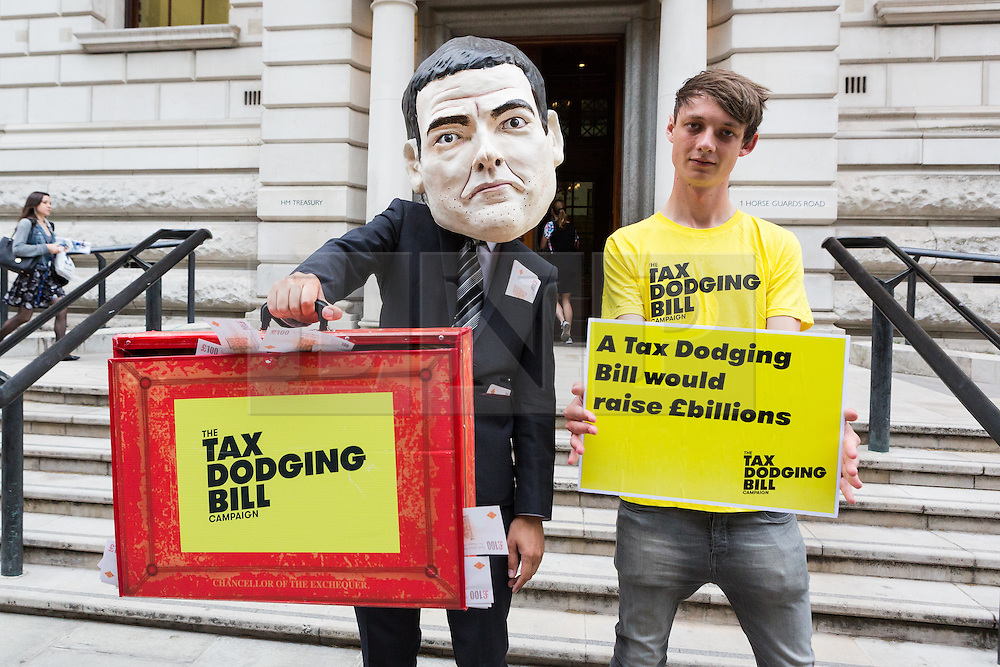 © Licensed to London News Pictures. 07/07/2015. London, UK. Protesters from the Tax Dodging Bill campaign demonstrate outside The Treasury in London against 'multi-national tax avoidance' ahead of the Budget and call for George Osborne to introduce a tax dodging bill. Photo credit : Vickie Flores/LNP