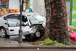 © Licensed to London News Pictures. 11/12/2020. London, UK. A car mounted on pavement and plough into pedestrians just after 9.30am. Five people have been rushed to the hospital. Photo credit: Dinendra Haria/LNP