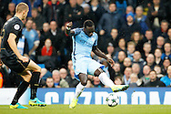 Manchester City's Bacary Sagna (3) gets a shot away during the Champions League match between Manchester City and Celtic at the Etihad Stadium, Manchester, England on 6 December 2016. Photo by Craig Galloway.