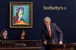 """© Licensed to London News Pictures. 03/03/2016. London, UK.  Pablo Picasso's """"Tête de Femme"""" being auctioned for a hammer price of £16.7m at Sotheby's Impressionist, Modern & Surrealist art evening sales in New Bond Street.  The combined total of the sale was forecast to realise between £97-138m. Photo credit : Stephen Chung/LNP"""