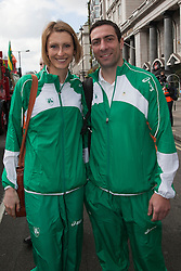 © Licensed to London News Pictures. 18/03/2012. London, England. Irish High-Jumper Deirdre Ryan with Olympic Silver Medallist boxer Kenneth Egan who have qualified to represent Ireland in the London 2012 Olympic Games. London celebrates St. Patrick's Day with a parade and festival. Photo credit: Bettina Strenske/LNP