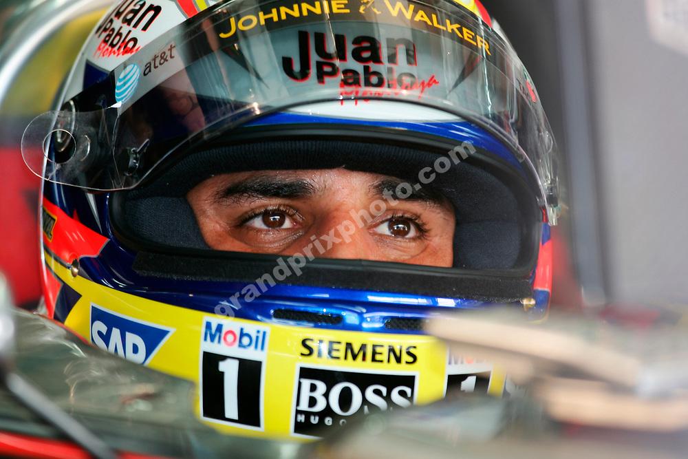 Juan-Pablo Montoya (McLaren-Mercedes) with his helmet on during practice for the 2006 Bahrain Grand Prix. Photo: Grand Prix Photo