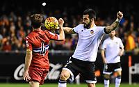 Valencia's  Alvaro Negredo  and RCD Espanyol's Victor S.  during La Liga match. February 13, 2016. (ALTERPHOTOS/Javier Comos)