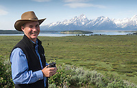 WWF USA CEO Carter Roberts Teton Mountain range in the background during the WWF annual conference held at Jackson Lake Lodge, Grand Teton National Park, Wyoming, U.S.A. <br /> I have worked with WWF Uk and International for many years covering a wide variety of events from international Annual conferences , Parliamentary events, Educational days, marches, Portraits etc.<br /> <br /> PR, Press photographer Richard Stonehouse.