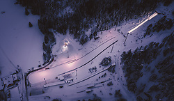 THEMENBILD - die beleuchtete Schanzenanlage Ramsau in der Winterlandschaft, aufgenommen am 17. Dezember 2018 in Ramsau, Oesterreich // the illuminated ski jumping Hill Ramsau in the winter landscape, Ramsau, Austria on 2018/12/17. EXPA Pictures © 2018, PhotoCredit: EXPA/ JFK