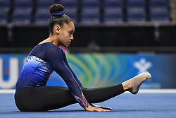 March 2, 2019 - Greensboro, North Carolina, US - CELIA SERBER from France stretches before the competition at the Greensboro Coliseum in Greensboro, North Carolina. (Credit Image: © Amy Sanderson/ZUMA Wire)