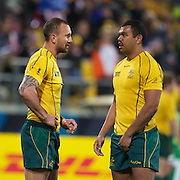 Quade Cooper, (left) and Kurtley Beale, Australia, during the Australia V USA, Pool C match during the IRB Rugby World Cup tournament. Wellington Stadium, Wellington, New Zealand, 23rd September 2011. Photo Tim Clayton...