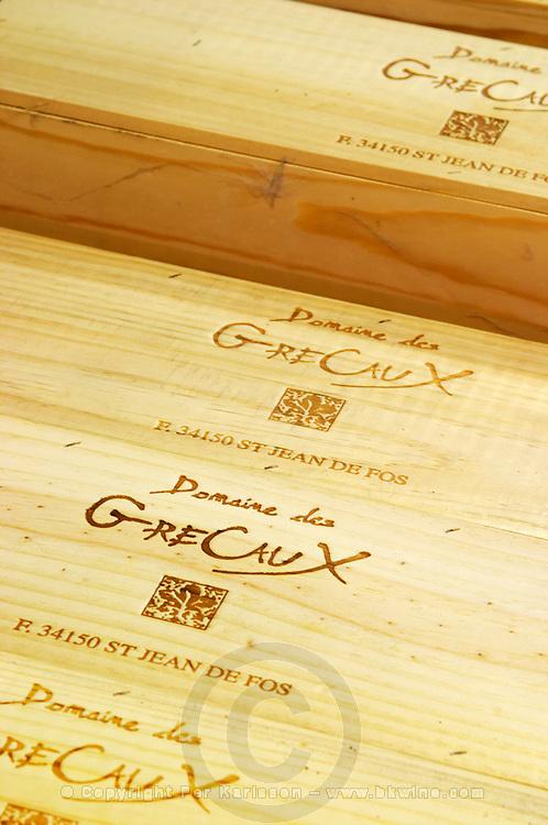 Wooden boxes. Domaine des Grecaux in St Jean de Fos. Montpeyroux. Languedoc. France. Europe.