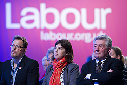 © Licensed to London News Pictures. 30/09/2012. Manchester, UK . L-R Eddie Izzard , Labour Candidate Lucy Powell and Tony Lloyd MP in the audience in the conference hall . Labour Party Conference Day 1 at Manchester Central . Photo credit : Joel Goodman/LNP