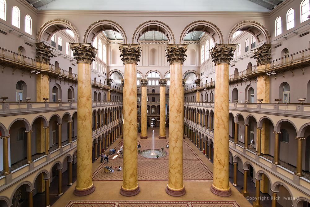 Interior view of Corinthium columns inside the National Building Museum, Washington, DC