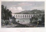 Chirk aqueduct on the Ellesmere Canal, built by Thomas Telford (1757-1834) between 1796 and 1801. Engraving after illustration by Henry Gastineau (1791-1876) for 'Wales Illustrated', London, 1829.