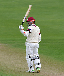 Somerset's Johann Myburgh celebrates his half century. - Photo mandatory by-line: Harry Trump/JMP - Mobile: 07966 386802 - 12/04/15 - SPORT - CRICKET - LVCC County Championship - Day 1 - Somerset v Durham - The County Ground, Taunton, England.