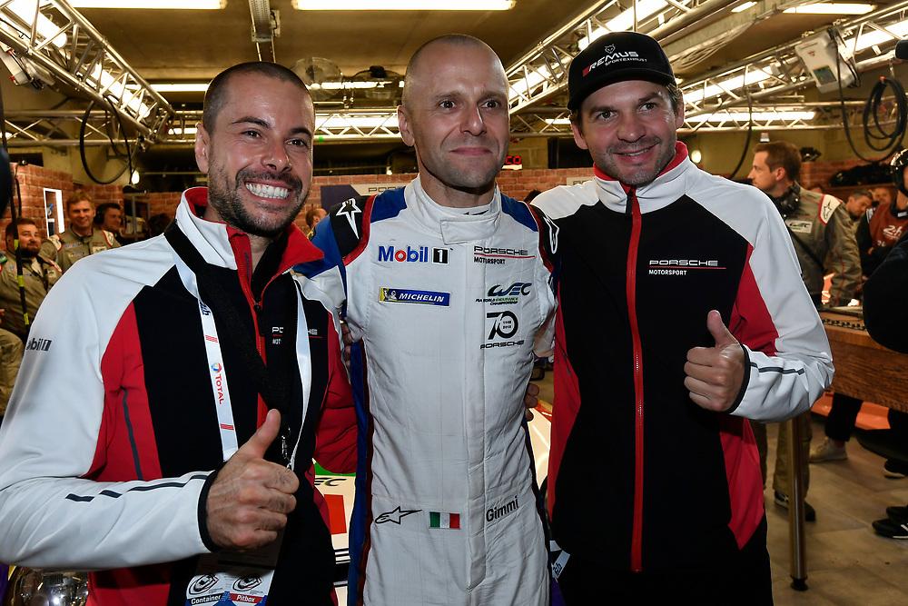 #91 Porsche GT Team Porsche 911 RSR: Richard Lietz, Gianmaria Bruni, Frédéric Makowiecki celebrate the GTLM Pro Pole<br /> Thursday 14 June 2018<br /> 24 Hours of Le Mans<br /> 2018 24 Hours of Le Mans<br /> Circuit de la Sarthe  FR<br /> World Copyright: Scott R LePage