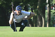 ST. LOUIS, MO - AUGUST 09: Keegan Bradley lines up his putt on the #10 hole during the first round of the PGA Championship on August 09, 2018, at Bellerive Country Club, St. Louis, MO.  (Photo by Keith Gillett/Icon Sportswire)