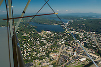 Aerial view of the City of Laconia from Lakes Biplane.