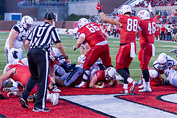 NORMAL, IL - September 04: Cole Mueller negotiates the pile for 6 points in the 2nd quarter during a college football game between the Bulldogs of Butler University and the ISU (Illinois State University) Redbirds on September 04 2021 at Hancock Stadium in Normal, IL. (Photo by Alan Look)