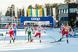March 16, 2019 - Falun, SWEDEN - 190316  Sindre Bjørnestad Skar, Emil Iversen and Johannes Høsflot Klæbo of Norway celebrates after the Men's cross-country skiing sprint final during the FIS Cross-Country World Cup on march 16, 2019 in Falun  (Credit Image: © Daniel Eriksson/Bildbyran via ZUMA Press)
