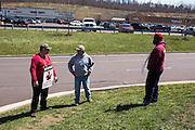 Striking Verizon workers picketing outside of a Verizon Wireless store near Bloomsburg, Pennsylvania.