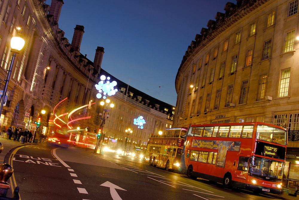 Regent Street, London, at night. Regent Street is located in the Soho area in central London, between Picadilly Circus and Oxford Circus, and is a centre for shopping in London.