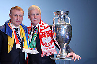 Photo: Rich Eaton.<br /> UEFA European Championships 2012 Press Conference. 18/04/2007. Michal Listkiewicz (R) President of Polish FA and Grygoriy Surkis (L) President of Ukraine FA pose with the trophy after they are announced as host nations