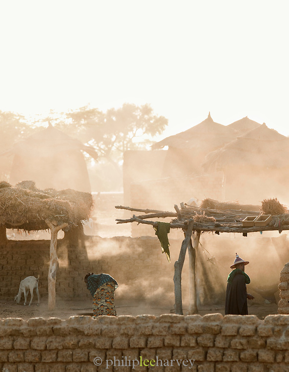 Dust in the air, early in the morning in a small, rural village near Djenné, Mali