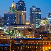 Kansas City MO Downtown Skyline from Percheron Rooftop Bar at the Crossroads Hotel.