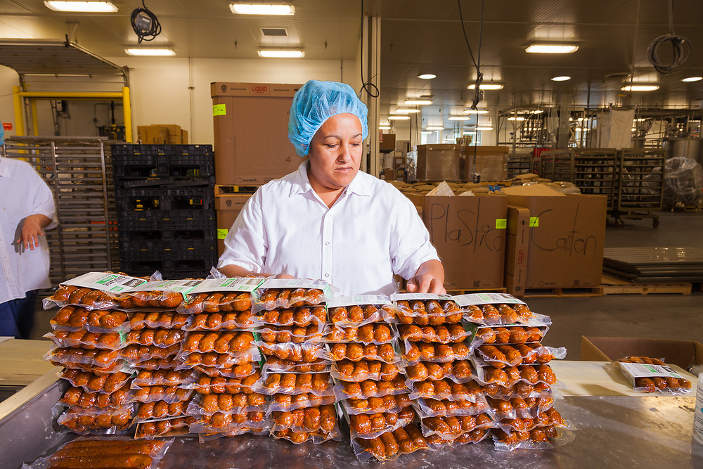 Sausages being packaged at Tofurky processing facility  in Hood River, Oregon