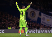 Football - 2019 / 2020 UEFA Champions League - Group H: Chelsea vs. Ajax<br /> <br /> Andre Onana (Ajax FC) celebrates after his team take an early lead at Stamford Bridge <br /> <br /> COLORSPORT/DANIEL BEARHAM