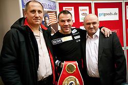 Z. Numanovic (BiH), Dejan Zavec (SLO) and  Nijaz Mujic (BiH) at press conference of boxers IBF World Champion Dejan Zavec - Jan Zaveck (SLO) and Paul Delgado (USA) before their WTC IBF Match, on February 14, 2011 in Ljubljana, Slovenia. (Photo By Vid Ponikvar / Sportida.com)