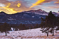 Sunrise over 14,255 ft. Longs Peak and Upper Beaver Meadows.  Rocky Mountain National Park, Colorado.