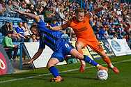 Gillingham FC midfielder Dean Parrett (8) and Southend United midfielder Sam Mantom (18)  during the EFL Sky Bet League 1 match between Gillingham and Southend United at the MEMS Priestfield Stadium, Gillingham, England on 13 October 2018.
