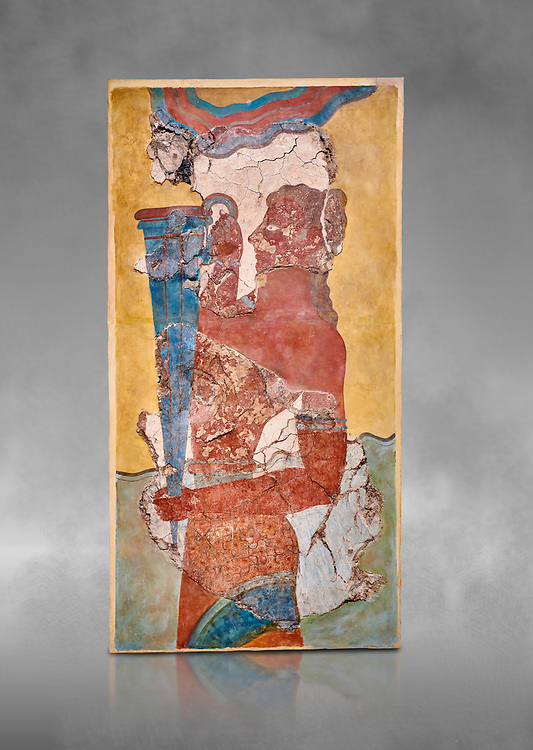 The Minoan 'Cup Bearer' from the 'Procession Fresco', wall art from the South Prpylaeum, Knossos Palace, 1500-1400 BC . Heraklion Archaeological Museum.  Grey Background. <br /> <br /> The 'Cup Bearer' depicts a youth with long black hair, a naked torso and a richly decorated kilt carrying a large silver rhuyhon ceremonial vessel. This large Minoan fresco of many figure in procession would have decorated the corridor between the West Porch and the South Propylaeum of Knossos Palace. Both sides of the corridor were painted with hundreds of male and femal;e figures carrying precious utensils and vessels, probably depicting gift bearers to the ruler of the Palace. The composition is much like those found in the Palaces and tombs of Egypt and the near east at the time. Neopalatial final period. .<br /> <br /> If you prefer to buy from our ALAMY PHOTO LIBRARY  Collection visit : https://www.alamy.com/portfolio/paul-williams-funkystock/minoan-art-artefacts.html . Type -   Heraklion   - into the LOWER SEARCH WITHIN GALLERY box. Refine search by adding background colour, place, museum etc<br /> <br /> Visit our MINOAN ART PHOTO COLLECTIONS for more photos to download  as wall art prints https://funkystock.photoshelter.com/gallery-collection/Ancient-Minoans-Art-Artefacts-Antiquities-Historic-Places-Pictures-Images-of/C0000ricT2SU_M9w