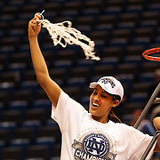 Skylar Diggins, Notre Dame, cuts the basketball net after the Connecticut V Notre Dame Final match won by Notre Dame 61-59 during the Big East Conference, 2013 Women's Basketball Championships at the XL Center, Hartford, Connecticut, USA. 11th March. Photo Tim Clayton