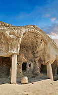 Picture & image of the Theatron vaulted ceiling, Uplistsikhe (Lords Fortress) troglodyte cave city, near Gori, Shida Kartli, Georgia. UNESCO World Heritage Tentative List<br /> <br /> Inhabited from the early Iron age to the late middle ages Uplistsikhe cave city eas, during the Roman & Hellenistic period, home to around 20,000 people.