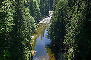 The Capilano River flows into a narrow forested gorge near Vancouver, British Columbia, Canada. The Capilano River flows from the Coast Mountains to Burrard Inlet, near Stanley Park, Vancouver. This view was captured from the Capilano Suspension Bridge which crosses 70 metres (230 feet) above the river.