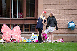 © Licensed to London News Pictures. 24/04/2018. Brownhills, West Midlands, UK. The Funeral of MYLEE BILLINGHAM took place at St James' Church, Church Road, Brownhills, Walsall. Her father, WILLIAM BILINGHAM, of Brownhills, near Walsall, is accused of killing Mylee on January 20 and faces a separate charge of making threats to kill her mother, TRACEY TAUNDRY, on the same day. Photo credit: Dave Warren/LNP