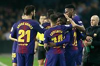 FC Barcelona's players celebrate goal with Ousmane Dembele during La Liga match. April 17,2018. (ALTERPHOTOS/Acero)